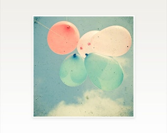 CLEARANCE SALE! Balloon Photography, Pastel Wall Art, Pretty Nursery Art - Almost Free