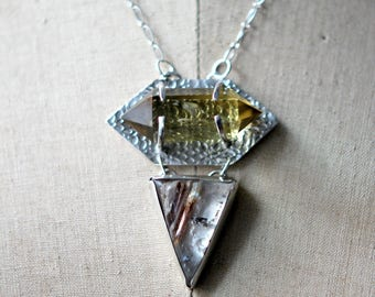 Citrine Quartz and Lodolite Pendant