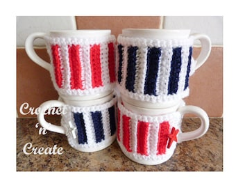 Easy Buttoned Mug Cosy Crochet Pattern (DOWNLOAD) CNC13