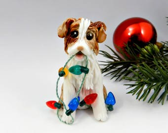 Australian Shepherd Red Merle Christmas Ornament Figurine Porcelain
