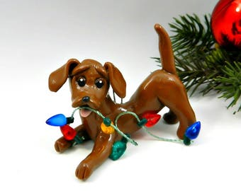 Dachshund Red Christmas Ornament Figurine Lights Porcelain