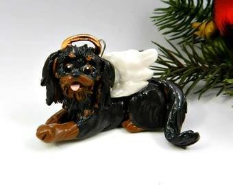 Cavalier King Charles Spaniel Angel Black Tan Christmas Ornament Memorial Porcelain