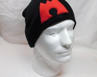 Pokemon Team Magma Red Symbol on Black Beanie Skullcap Ski Hat Cosplay