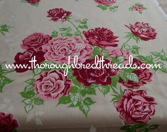 Big Beautiful Roses - Vintage Fabric New Old Stock Cottage Print Pink Red
