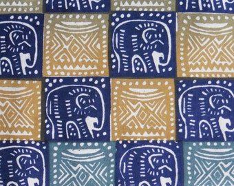 Zimbabwean hand printed and hand dyed batik - 1/2 yard of blue Elephant and Headrest