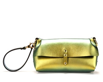 Gold Iridescent Wristlet | Gold Iridescent Wrist Bag | Gold Iridescent Clutch | Vegan, Made in USA