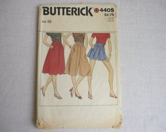 Vintage Butterick 4405, culottes, flared skirt, shorts, size 10, sewing patterns, 1980s