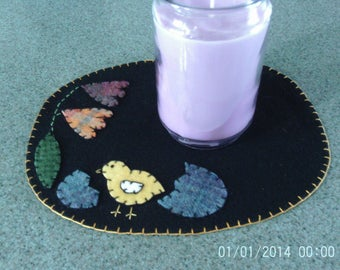Penny rug Candle Mat 9x11 inch Chick with Egg and Tulips
