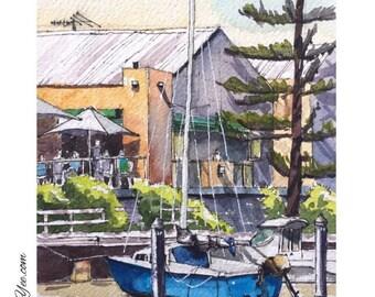 SALE - Boat on water in Modialloc / original watercolour / wall art