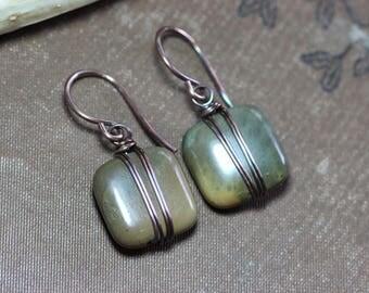 Picasso Jasper Earrings Copper Wire Wrapped Sage Green Gemstone Earrings Rustic Jewelry