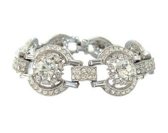 Vintage Art Deco Bracelet, Antique 1920s Fine Art Deco Cuff, Antique Rhinestone Wedding Jewelry, Art Deco Jewellery