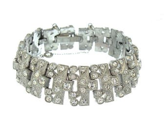 Art Deco Antique KTF Bracelet, Vintage Trifari Krussman Fishel Jewelry, Antique Rhinestone 1930s Art Deco Wedding Jewelry