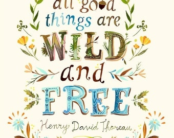 Wild and Free - Thoreau - various sizes - STRETCHED CANVAS - Katie Daisy art