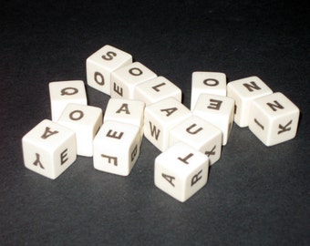 Vintage  (1972) Spill and Spell Letter Dice Cubes for Altered Art