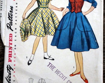 Vintage Simplicity sewing pattern #4104 from 1952 - girl's size 10  One-piece dress and weskit (vest)