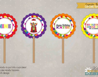 Bubble Gum Bubble Gum Birthday Party Cupcake Toppers, Gumball Birthday Decorations