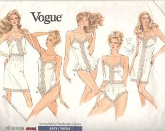 1980s Vogue 2146 Misses Lingerie Slip Camisole Panties Teddy Pattern Womens Vintage Sewing Pattern Size XS S M Bust 30 - 36 UNCUT