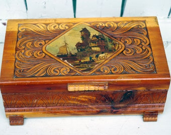 Vintage Cedar Wood Carved Box River  Scene Print Lid