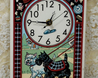 Santa Barbara Ceramic Design Scottie and Westie Clock