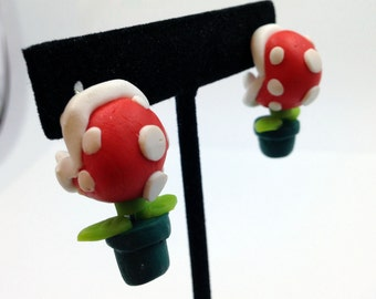 Video Game Polymer Clay Earrings // Mario Inspired Earrings // Piranha Plant Polymer Clay Earrings // Handmade Jewelry