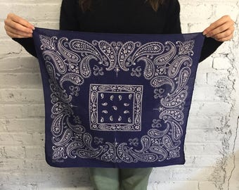 vintage navy blue bandana / trunk up elephant bandana / made in USA All Cotton Fast Color