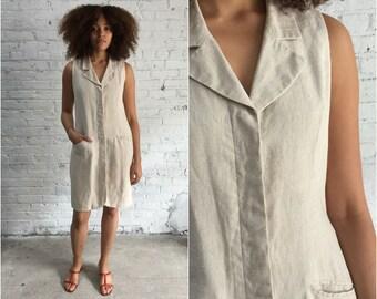vintage sleeveless natural linen dress / button front linen duster / minimalist clothing