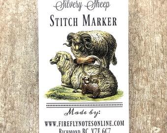 Silvery sheep stitch marker, 12 mm snag free