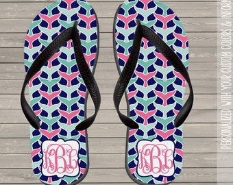 Whale monogram personalized flip flops  - great gift for birthday or Mother's Day FFWM