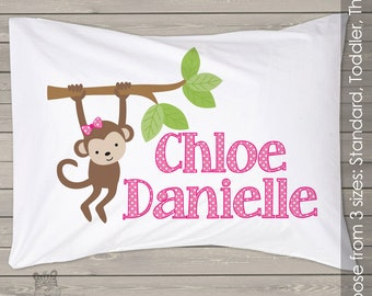Girl monkey pillowcase / pillow - custom personalized pillowcase great birthday gift PIL-007