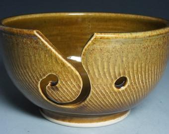 Hand Thrown Rust Ceramic Yarn Bowl