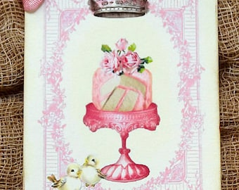 Pink Cake Slices On A Fancy Cake Stand Gift or Scrapbook Tags or Magnet #597
