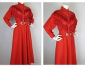 Vintage 1970s / 80s Western Fringe and Lace Dress, Sz S, M