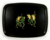 Vintage Black Couroc of Monterey Tray, Dancing Frogs Design, Inlay, Mid Century Bar