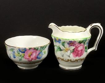 "Vintage Bone China Sugar Bowl and Creamer Set, ""Brendon"", Crown Staffordshire, Fine Bone China"