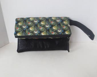 Fold Over Clutch - Vegan Leather clutch - Peacock fabric Clutch - Clutch