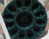 Peacock Teal Basket Weave Egg Platter Plate Tray Made in Portugal Vintage
