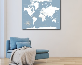 1st Anniversary Gift for Man, Custom World Map Art Print, World Custom Push Pin Map, Custom Push Pin World Map // H-I18-1PS AA4 06P OP18