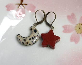 Moon And Star Earrings, Dalmatian Jasper, Red Jasper, Antiqued Brass Leverback, Mix Or Match Stone