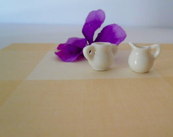 Dollhouse Miniature Vintage White Cream Sugar Set
