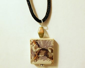 HUSKY Dog Jewelry / Scrabble Pendant / Necklace with Cord / Charm / Siberian - Sled Dog
