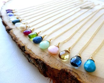 Custom Birthstone necklace, Pick your stone, minimal layering necklace, wire wrapped gemstone jewelry, Otis B, astrological, crystals,