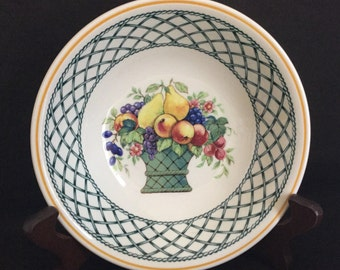 Villeroy & Boch Basket 2 Cereal Soup Bowls Fruit Trellis MINT CONDITION Many Other Pieces Available