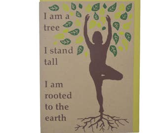 Yoga Tree Pose Woman Blank Card Recycled Paper Compostable Plastic Environmentally Friendly Mothers Day