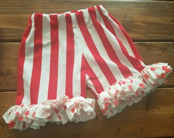 Ruffle Bottom Shorts, Striped Knit Shorts, Polka Dots, Circus Theme Party, Pirate Costume, Nautical Theme, Vacation Outfit, Ready to Ship