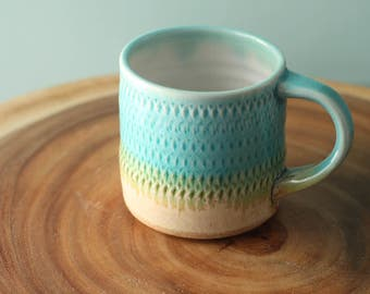 pattern mug in aqua and sand, porcelain