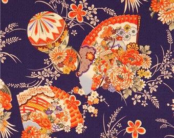 204044 dark blue Kokka fabric Asia fan flower
