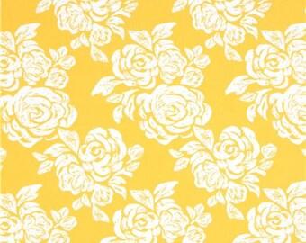 215059 marigold yellow with off-white flower fabric Moda Fabrics