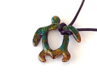 Bronzed Turquoise Turtle Pendant