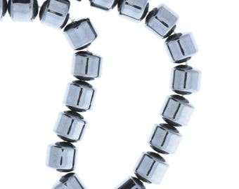 Hematite 8mm Drum Beads 16in strand 08954/8
