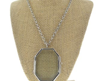 Locket Necklact Octagon(Horcrux), silver - Our Glass Frame Pendant, with chain , sold by each